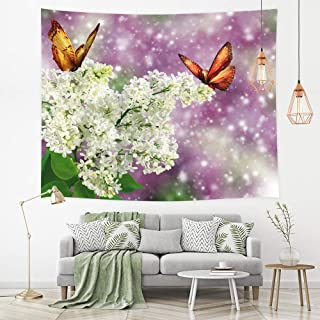 Tapiz de mariposas, Mariposa volando alrededor de flores blancas con fondo púrpura Tapices de arte infantil