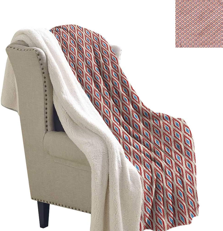 Beihai1Sun Ikat Blanket Small Quilt Traditional Diamond Line Print Summer Quilt Comforter 60x32 Inch
