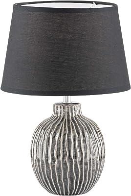 Fischer & Honsel 50372 Lampe de table, Céramique, Gris et Beige, 32,5 x 32,5 x 45 cm (LxBxH)