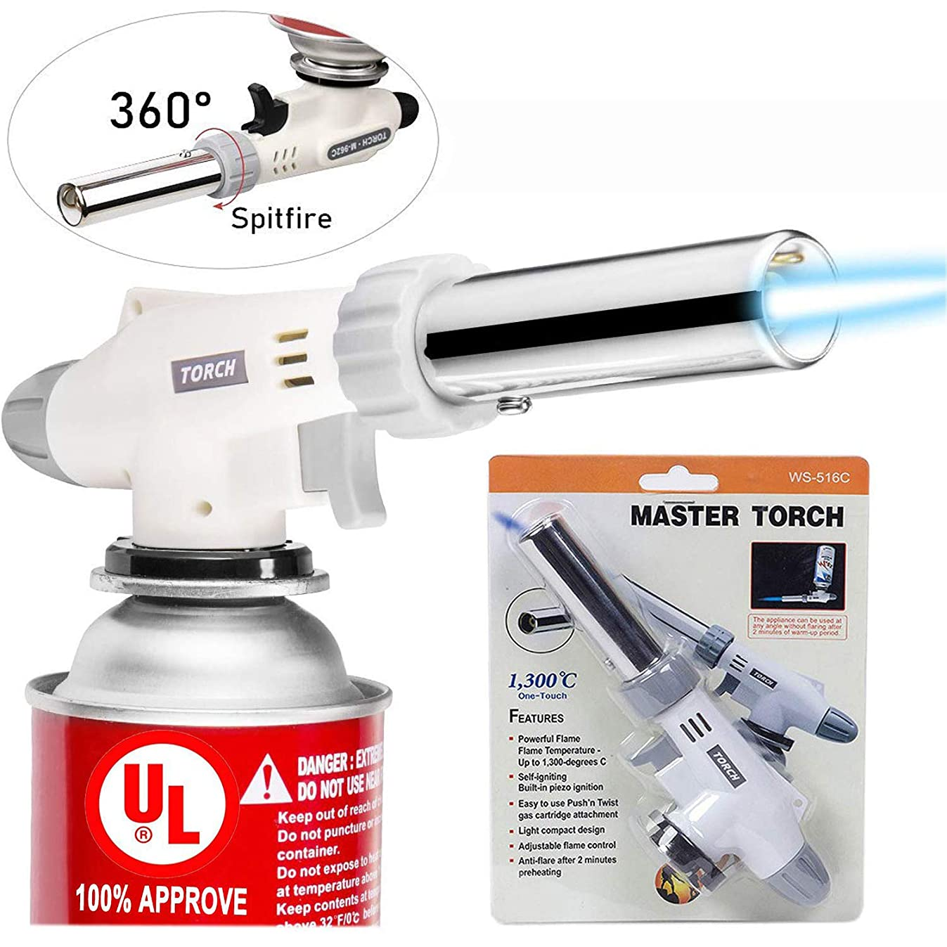 Butane Torch Kitchen Blow Torch, UCOFFEE Culinary Cooking Torch Chef Torches Lighter Adjustable Flame With Safety Lock For Creme Brulee, Searing, Baking, BBQ (Butane Gas Not Included)