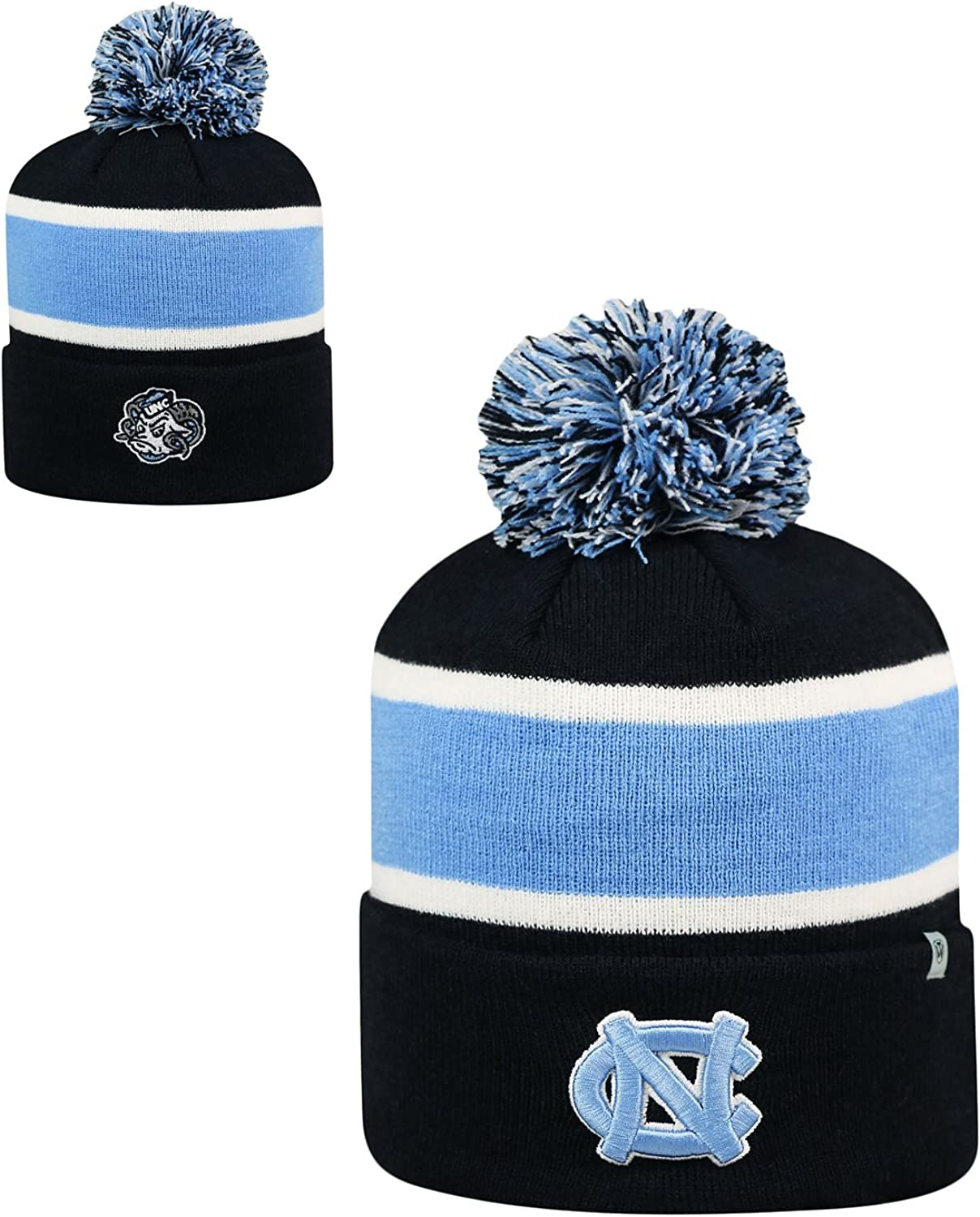 Top of the World 2-Sided Whirl Beanie Hat with POM POM NCAA Cuffed Knit Cap