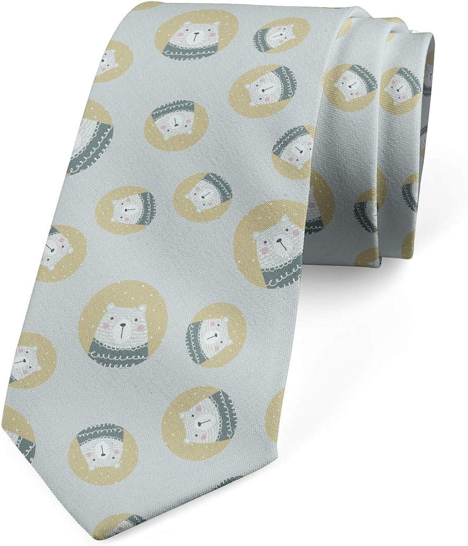 Ambesonne Men's Tie, Polar Bear in Sweater, Necktie, 3.7