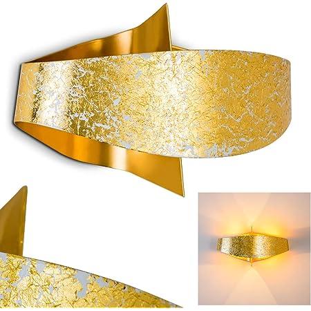 1 x E27-Fassung max 60 Watt geeignet f/ür LED Leuchtmittel Wandlampe Karatschi aus Keramik in Gold Innenwandleuchte in Blattgold-Optik Wandleuchte mit sch/önem Lichtkegel