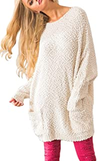 Pink Queen Women's Casual Fuzzy Popcorn Long Puff Sleeve Round Neck Pullover Sweater with Pockets