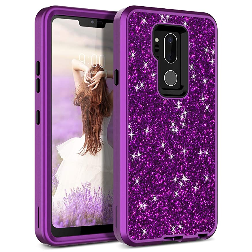 LG G7 Case, WeLoveCase LG G7 ThinQ Case Glitter Sparkle Design Three Layer Shockproof 3 in 1 Hybrid Heavy Duty Protective Cover Case for LG G7 Case (Purple)