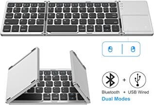 Foldable Bluetooth Keyboard, Jelly Comb Dual Mode Bluetooth & USB Wired Rechargable..