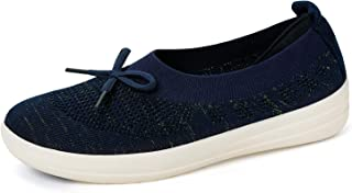 Womens Slip-On Flats Shoes-Breathable Knit Loafer Comfortable Walking Boat Shoe