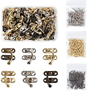 OLYCRAFT 60PCS Antique Right Latch Hook Hasp Wood Jewelry Box Latch Hook Clasp 3-Color Swing Arm Lock Clasp with Replaceme...