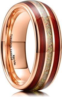 King Will Nature 8mm Tungsten Ring for Men Rose Gold Wedding Band Red Guitar String Inlay High Polished