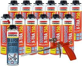 Soudal Combi set 12 x Soudafoam B2 X-TRA750 500 ml pistoolschuim vullen bouwverbindingsvoegen incl. reiniger + schuimpisto...