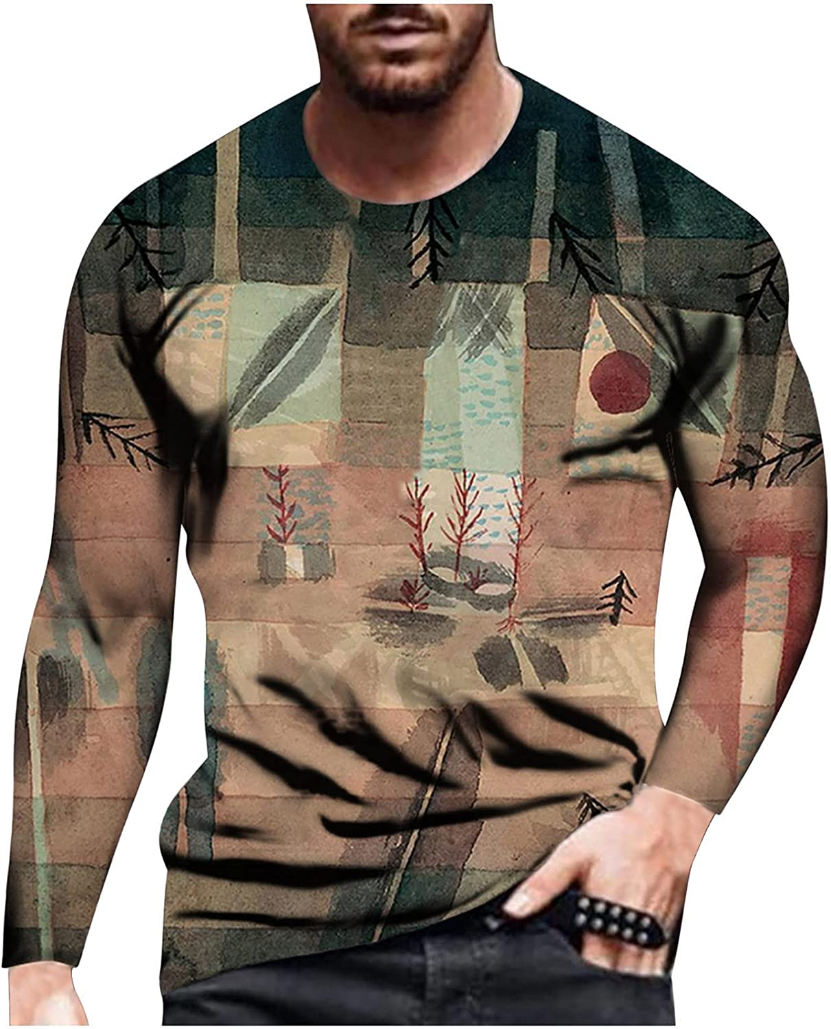 Bravetoshop 3D Pattern Printed T-Shirt for Men,Men's Novelty Colorful Graphic Long Sleeve T Shirts Street Fashion Blouse