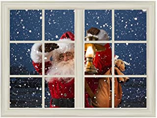 wall26 Removable Wall Sticker/Wall Mural - Santa Claus Carrying Gifts Outside of Window on Christmas Eve - Creative Window View Home Decor/Wall Decor - 36