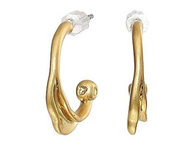 Rebecca Minkoff Organic Metal Mini Hoops Earrings (Gold) Earring