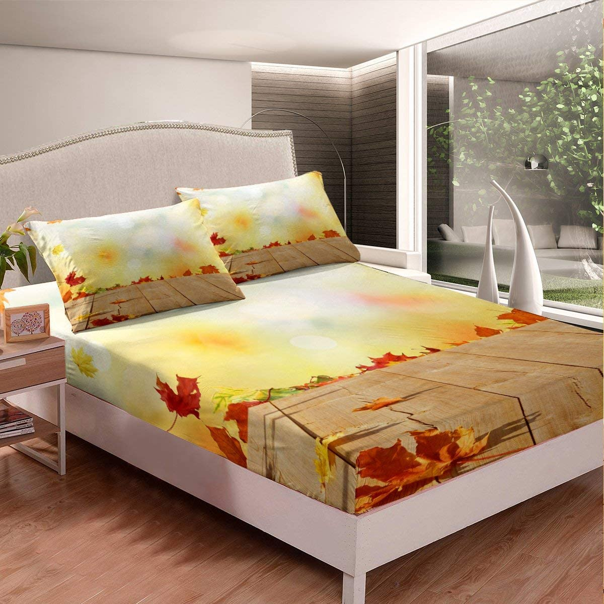 Erosebridal Maple Leaf Sheet 55% OFF Print Bedding Set Canadian shipfree