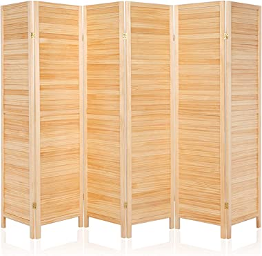 Bonnlo Upgraded Heavy Duty Folding Pine Wood Room Divider Screens, 6FT Tall Indoor Room Dividers and Folding Privacy Screens for Home Office, Restaurant, Bedroom (Natural, 6 Panel)