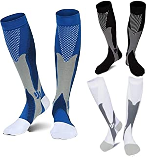 3 Pairs Medical & Athletic Compression Socks for Men & Women,20-30 mmhg, for Sports & varicose Veins, white, blue & black