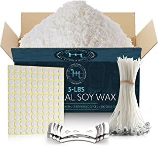 Hearth & Harbor Natural Soy Wax and DIY Candle Making Supplies - 5 Lbs Soy Candle Wax Flakes with 100 Cotton Wicks, 2 Meta...