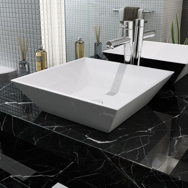 Square Ceramic Basin Sink 41.5?X 41.5?X 12?Cm White