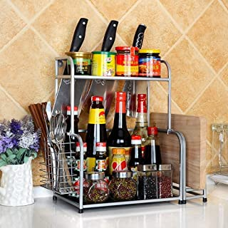Cuisine de stockage, 2-Tier Spice Cuisine Countertop Spice en rack Rack, Assaisonnement Can Organisateur étagère, étagère ...
