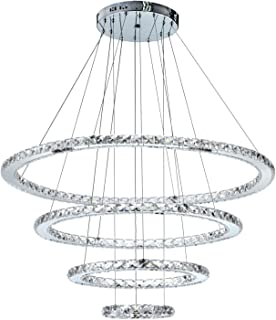 MEEpinkE MD8825-8642MNCW Crystal Modern LED Ceiling Fixtures Pendant Lighting Dining Room Contemporary Adjustable Stainless Steel Cable 4 Rings Chandelier, Cool White