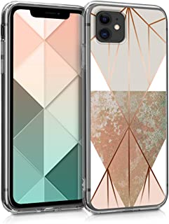 kwmobile Case Compatible with Apple iPhone 11 - TPU Crystal Clear Back Protective Cover IMD Design - Triangular Shapes Bei...