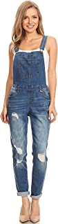 wax jean Women's Junior Ankle Length Skinny Leg Distressed Denim Overalls