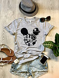 Small/Gray/Star Wars Mickey // Disney Love T Shirt/Cool T Shirt/Disney Trip T Shirt/Unisex Fit From Bella Canvas/Crew-Neck Shirt/Free Shipping/