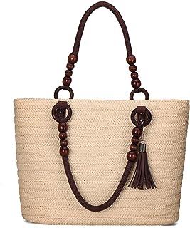 JOSEKO Stroh Handtasche, Sommer Strand Tasche Damen Schultertasche mit Ledergriffe Quaste Henkeltasche Frauen Strandtasche...