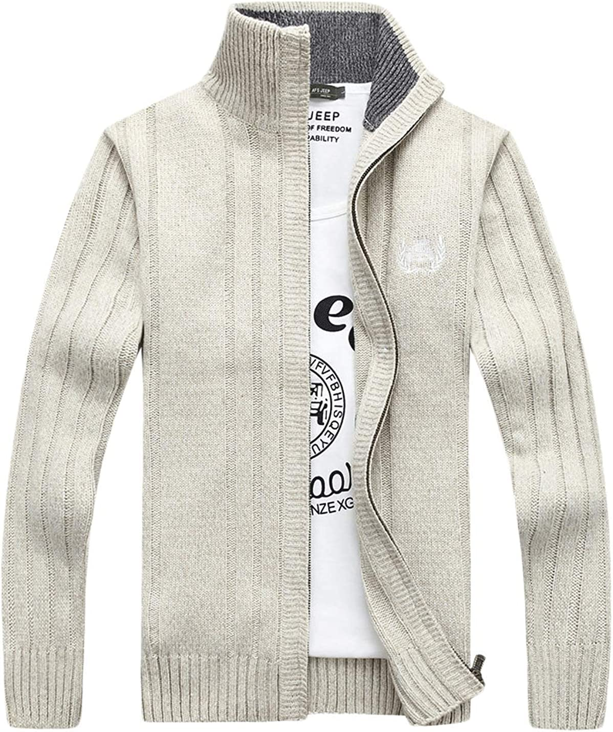 Jenkoon Mens Casual Stand Collar Full Zip Cardigan Sweater