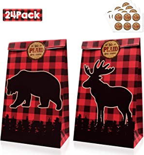Levfla 24 Pcs Lumberjack Candy Goodie Treat Bags Buffalo Plaid Kids Birthday Winter Baby Shower Camping Bears Deers Party Favor Ideas Supplies