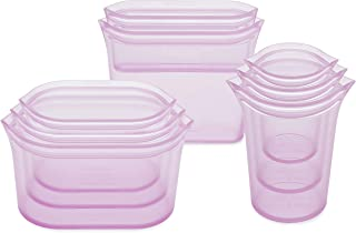 Zip Top Reusable 100% Silicone Food Storage Bags and Containers, Made in the USA - Full Set- 3 Cups, 3 Dishes & 2 Bags - L...