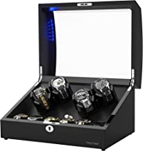 New Designed Watch Winder for 10 Automatic Watches,Built-in LED Illumination,Wood Shell Piano Paint Exterior and Extremely...