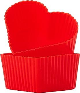 GOURMEO® Lot de 25 moules à muffins en forme de cœur Rouge