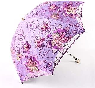AUWANGAOFEI Vinyl Double Embroidery Lace UV Sunshade Umbrella (Color : Purple, Size : 50 * 8K)