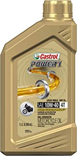 Castrol 06112 POWER 1 4T 10W-40 Synthetic Motorcycle Oil, 1 Quart Bottle, 6 Pack