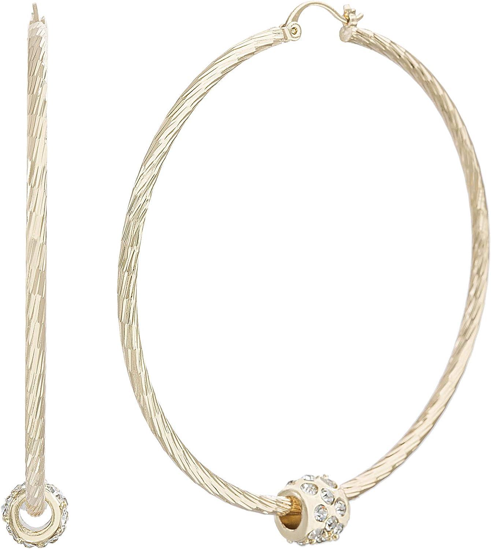 Steve Madden Yellow Gold-Tone Rhinestone Bead Hoop Earrings for Women (SME513469GD), one size