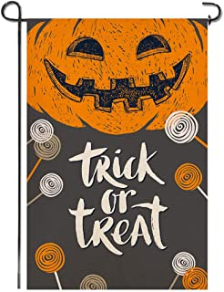 Shmbada Trick or Treat Happy Halloween Burlap Garden Flag, Premium Material Double Sided, Welcome Seasonal Grimace Pumpkin Candy Outdoor Decorative Small Banner for Home Yard Porch, 12.5 x 18.5 Inch