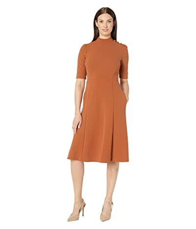 Donna Morgan Elbow Sleeve Military Detailed Shoulder Crepe Dress (Cedar) Women