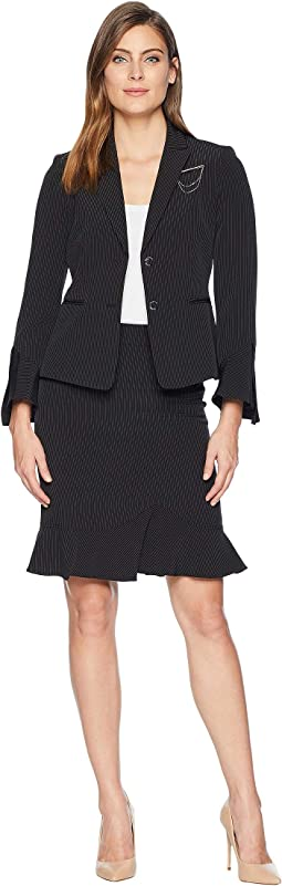 Peak Lapel Two-Button Besom Pocket Flutter Sleeve Skirt Suit with Breast Pin