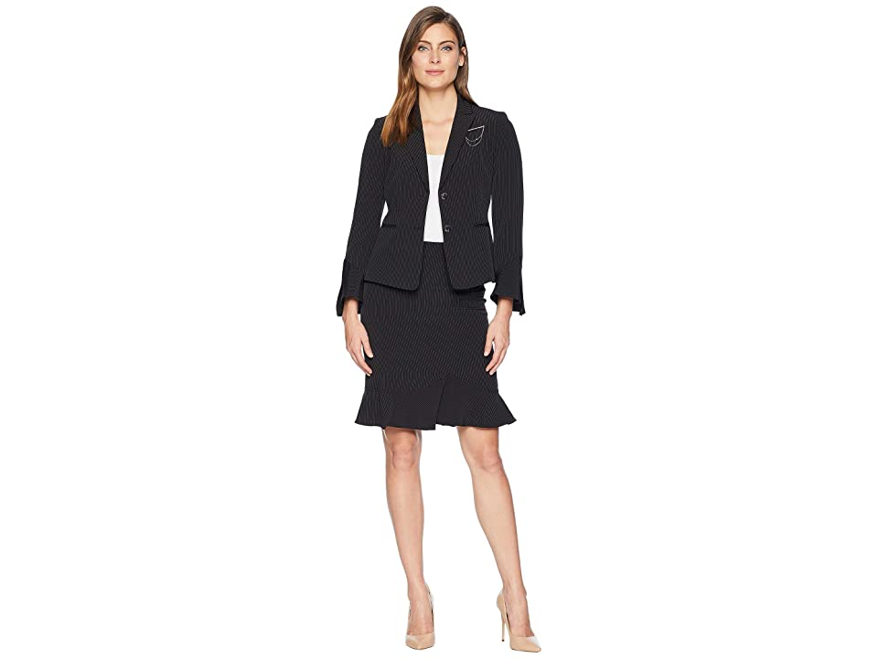 Tahari by ASL Peak Lapel Two-Button Besom Pocket Flutter Sleeve Skirt Suit with Breast Pin (Black/White) Women
