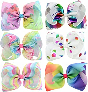 YHXX YLEN 6 Pcs 8 Inch Large Colorful Bow Hairpin Girls Bows with Clip Hair Bows (801)