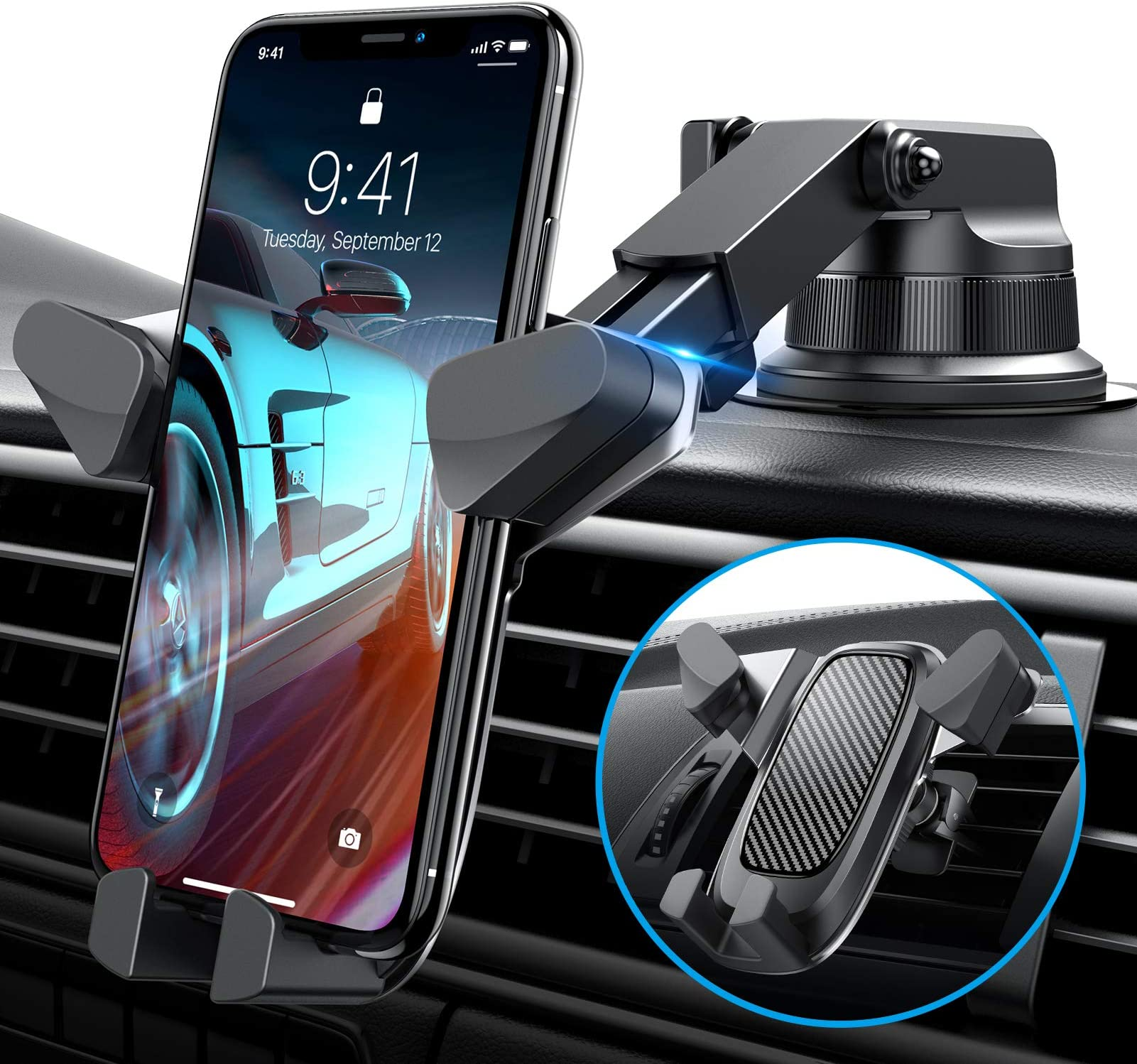 VANMASS Car Phone Holder with Auto Clamp, Easy to Use, Car Phone Mount with Strong Sticky Gel Suction Cup, Anti-Fall, Car Phone Holder for Dash Windshield Air Vent, Suitable for Most Mobile Phones
