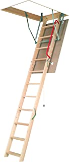 FAKRO LWN-P 30inx54in Wooden Basic Non-Insulated Attic Ladder 250lbs 10ft 1in