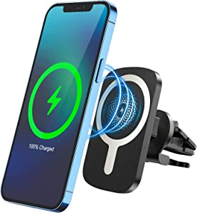 Magnetic Wireless Car Charger, CHGeek 15W Qi Car Phone Mount Air Vent Phone Holder for iPhone 12 Mini iPhone 12 iPhone 12 Pro iPhone 12 Pro Max