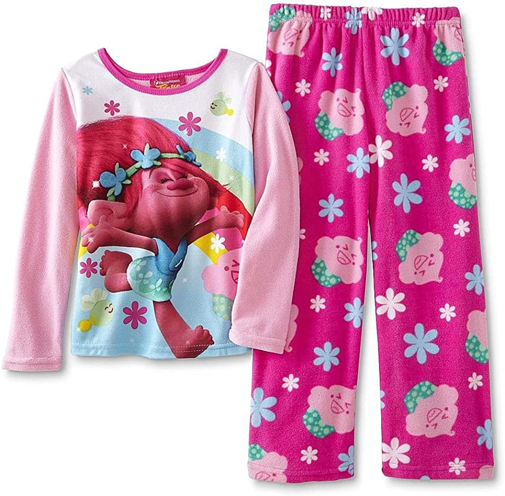 AME Trolls Poppy Size 10 Two-Piece Fleece Pajama Pants Set Pink