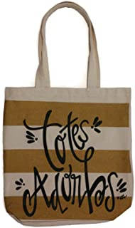Totes Adorbs Striped Trendy Canvas Fashion Tote Bag
