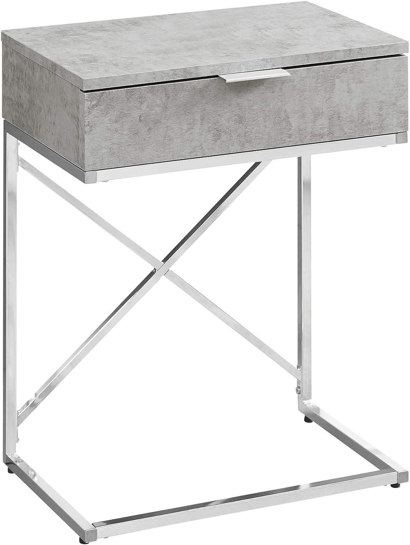 CHEONUK Accent Table - 24  H Grey Cement Chrome Metal