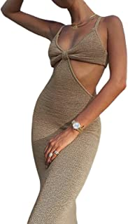 Women Summer Sexy Y2K Dress Spaghetti Strap Solid Colour Knitted Slim Bodycon V Neck Backless Cut Out High Waist Halter Dr...