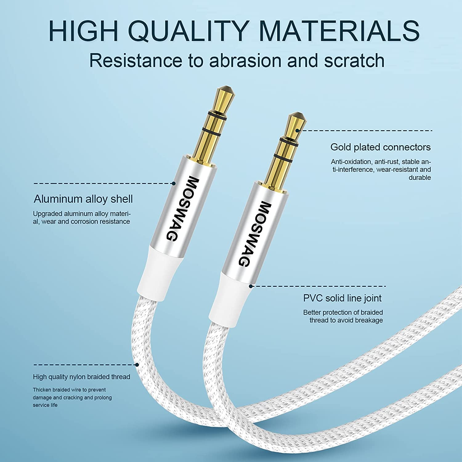 MOSWAG 1.64FT/0.5M 3.5mm Audio Aux Jack Cable to 3.5mm Aux Cable Male to Male Aux Cord Nylon Braided Stereo Jack Cord for Phones,Headphones,Speakers,Tablets,PCs,Music Players and More