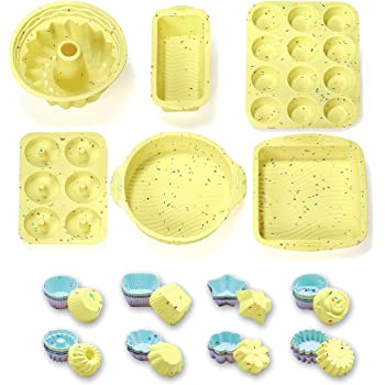 46PCS Silicone Bakeware Set Silicone Cake Molds Set For Baking, Including Baking Pan, Cake Mold, Cake Pan, Toast Mold, Muffin Pan, Donut Pan, And Cupcake Mold Silicone Baking Cups Set